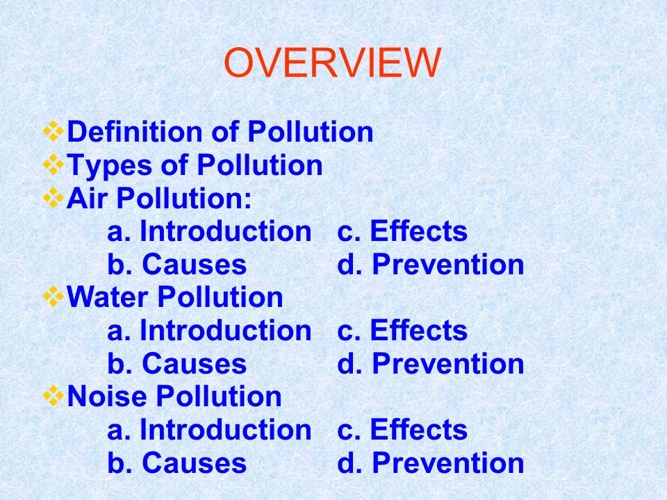 types of pollution definition