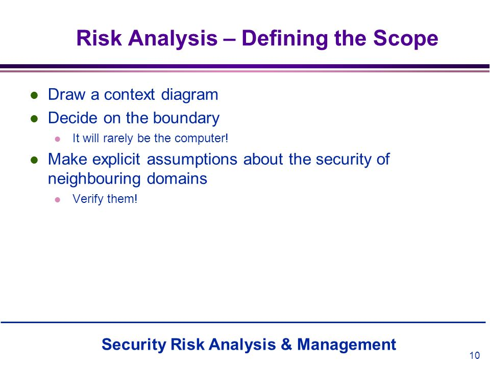 Risk Analysis – Defining the Scope