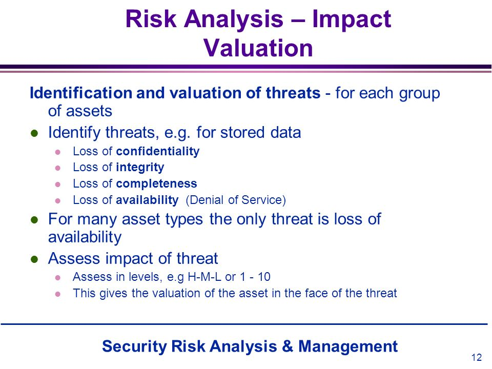 Risk Analysis – Impact Valuation