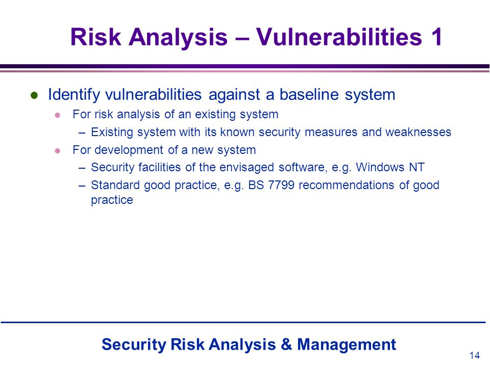 Risk Analysis – Vulnerabilities 1