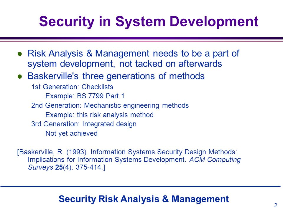 Security in System Development