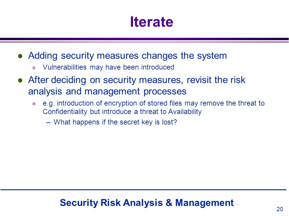 Iterate Adding security measures changes the system