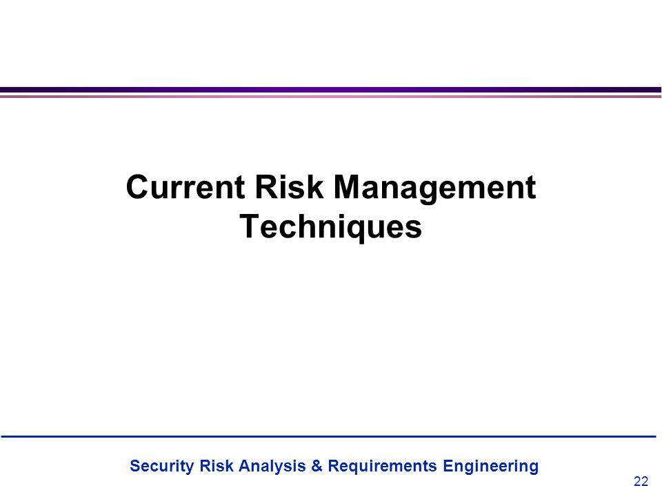 Current Risk Management Techniques