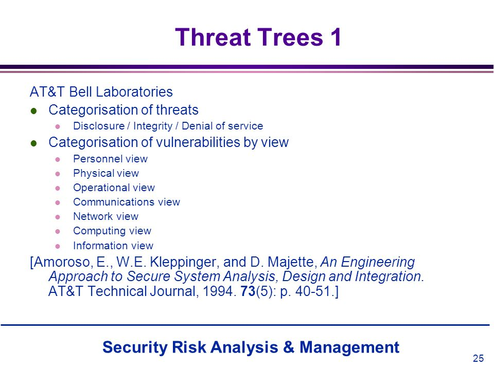 Threat Trees 1 AT&T Bell Laboratories Categorisation of threats