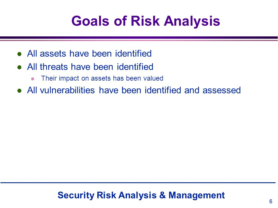 Goals of Risk Analysis All assets have been identified