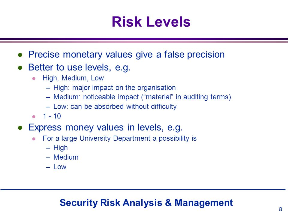 Risk Levels Precise monetary values give a false precision