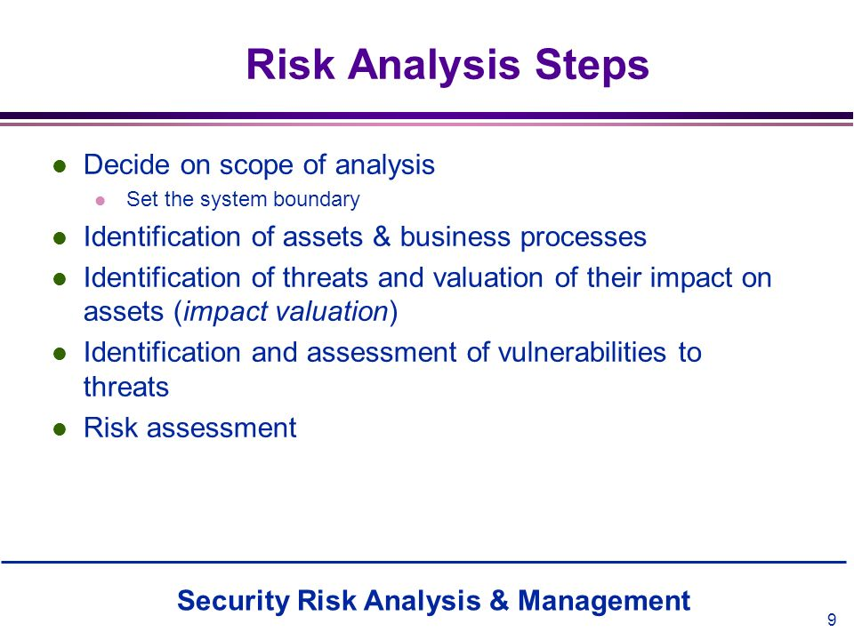 Risk Analysis Steps Decide on scope of analysis