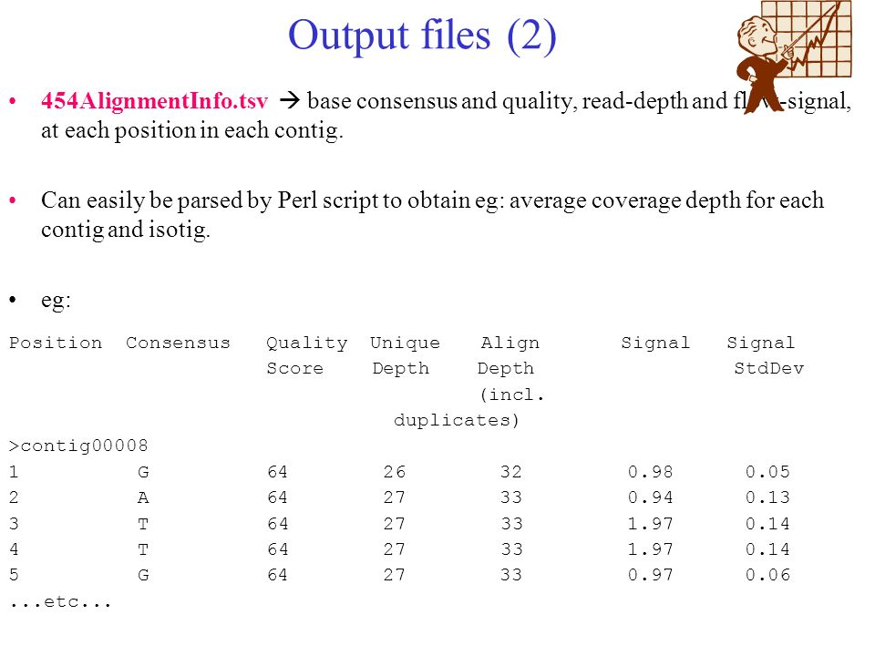 Output files (2) 454AlignmentInfo.tsv  base consensus and quality, read-depth and flow-signal, at each position in each contig.