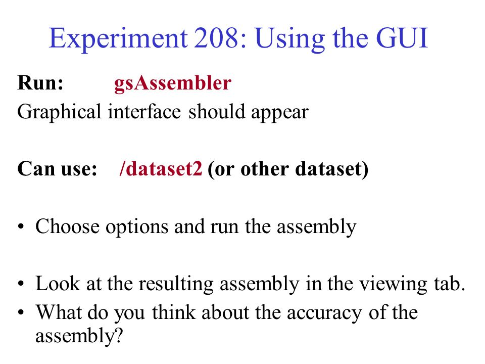 Experiment 208: Using the GUI