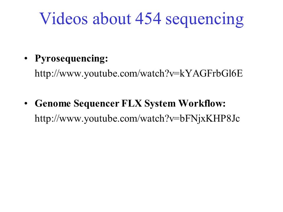 Videos about 454 sequencing