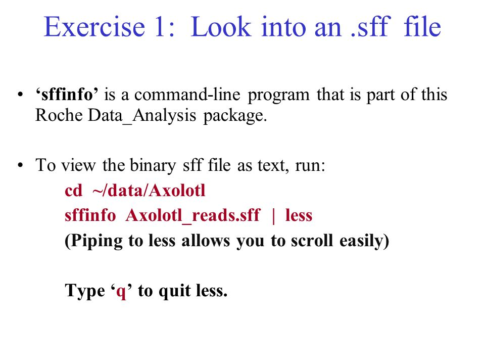 Exercise 1: Look into an .sff file