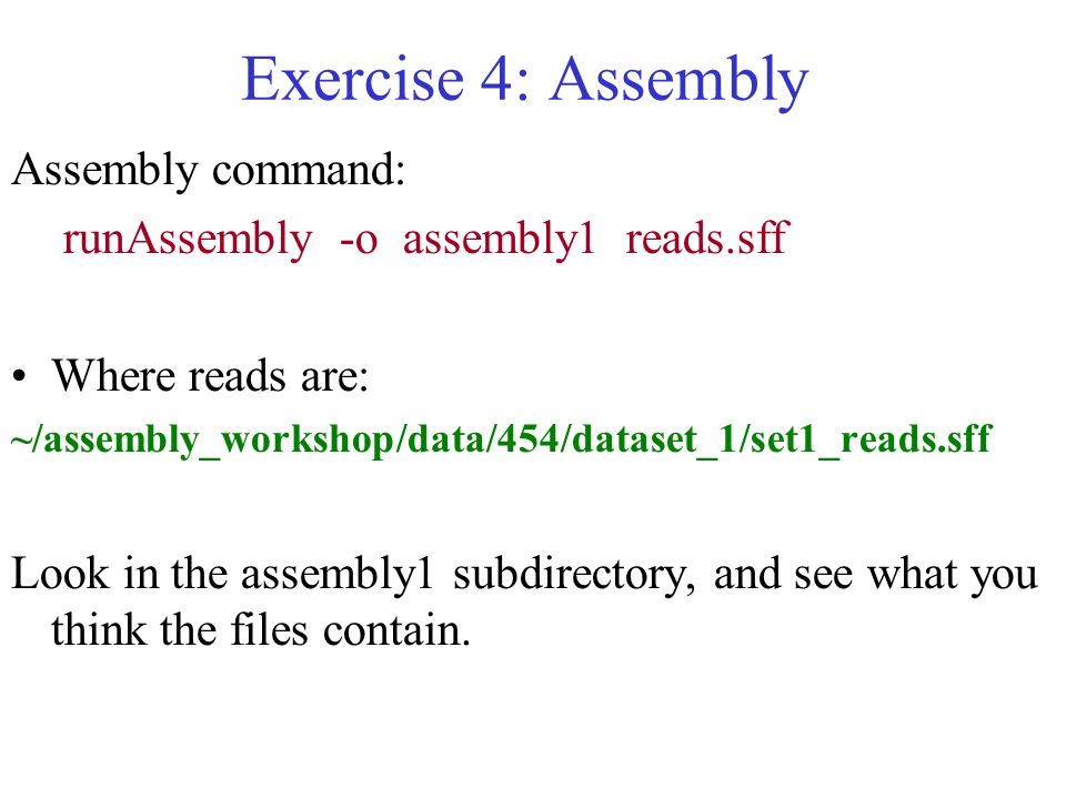 Exercise 4: Assembly Assembly command: