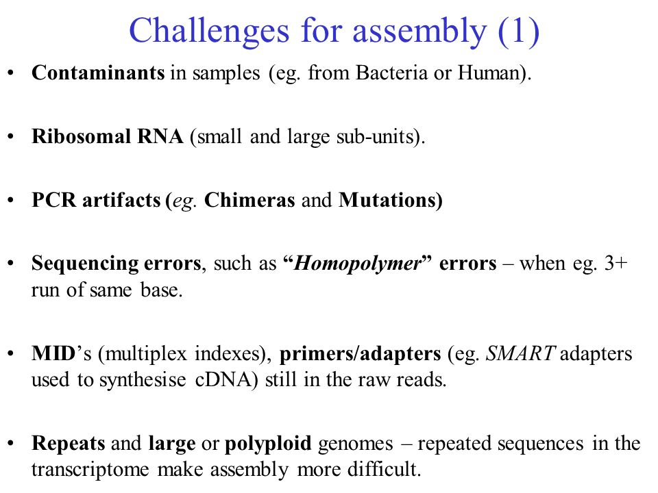 Challenges for assembly (1)