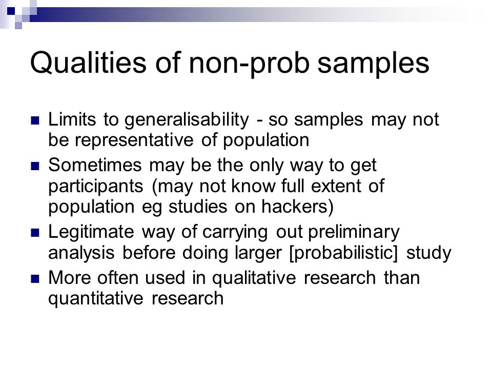 Qualities of non-prob samples