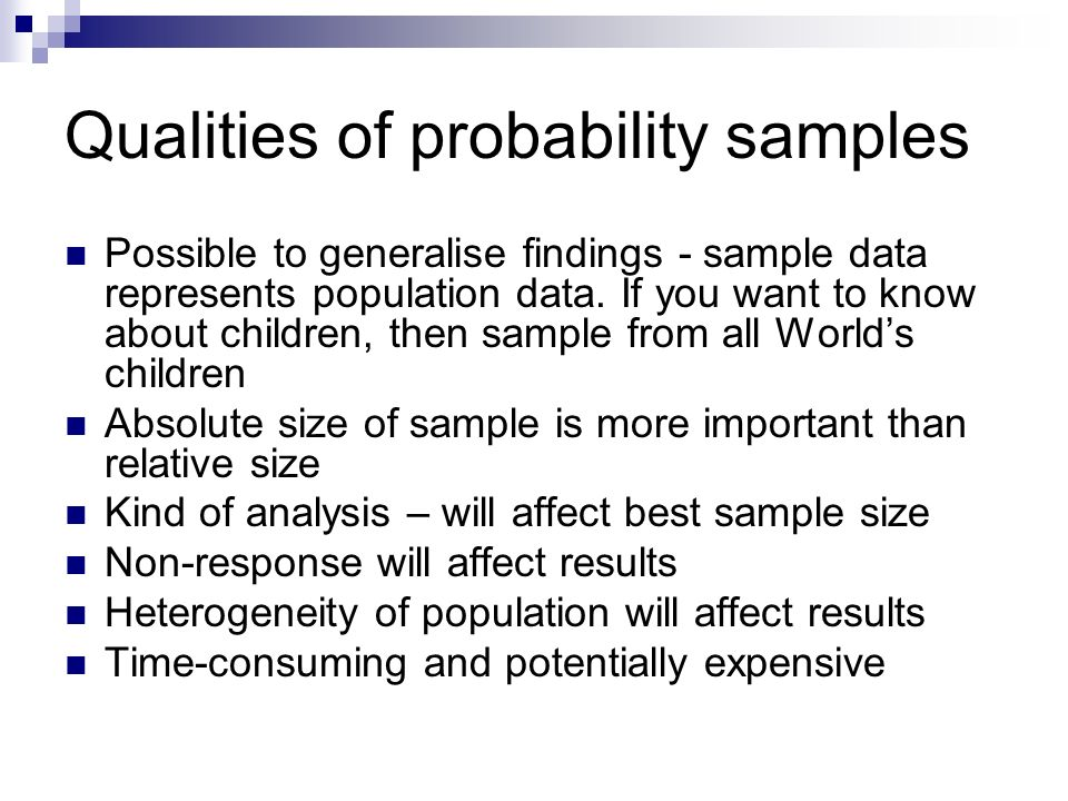 Qualities of probability samples