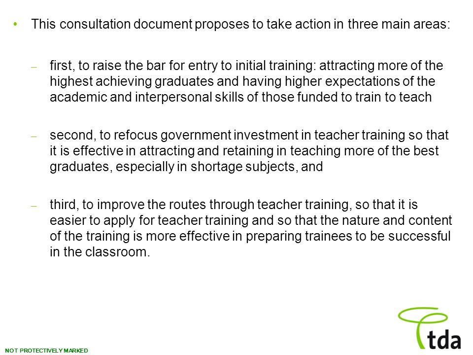 This consultation document proposes to take action in three main areas: