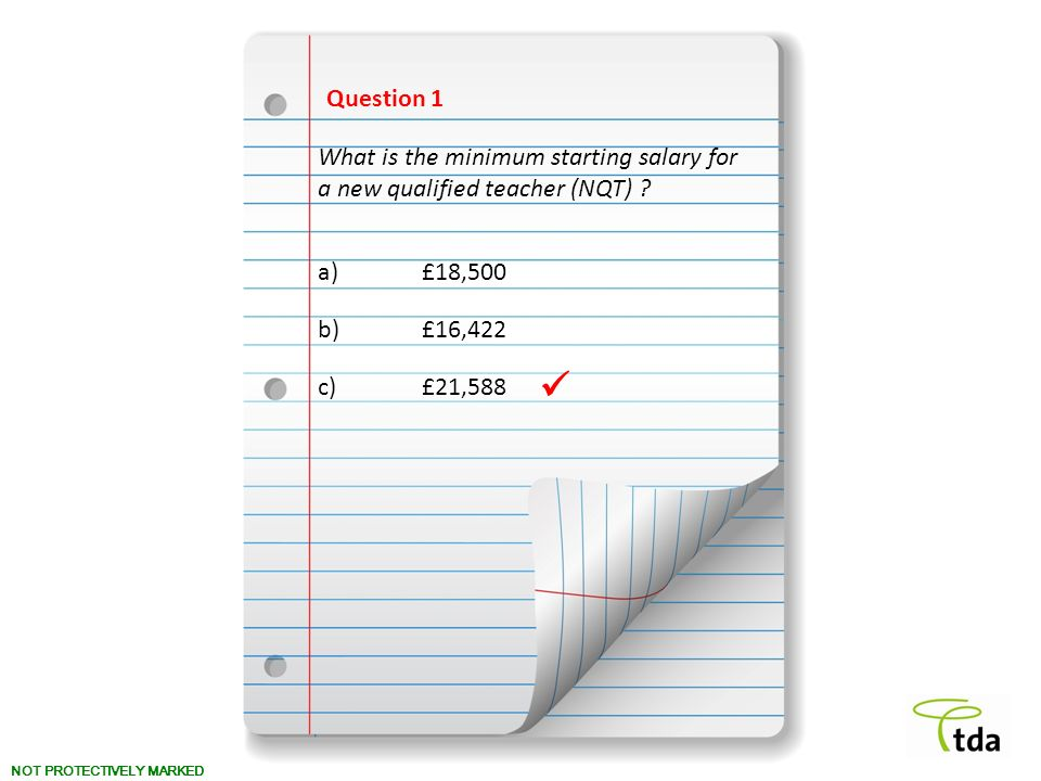 Question 1 What is the minimum starting salary for a new qualified teacher (NQT) a) £18,500. b) £16,422.