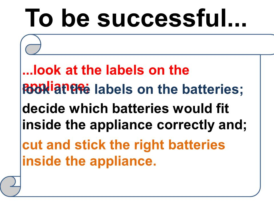 To be successful... ...look at the labels on the appliance;