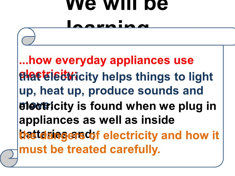 We will be learning... ...how everyday appliances use electricity;