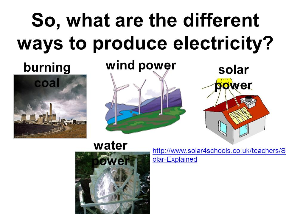 So, what are the different ways to produce electricity