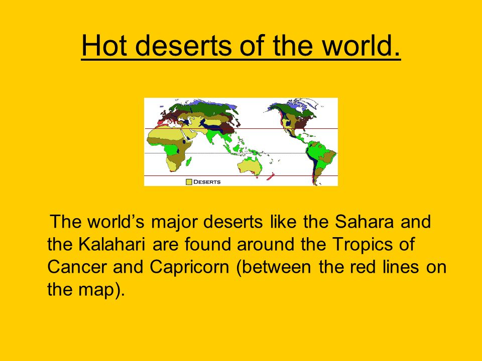 Hot deserts of the world.
