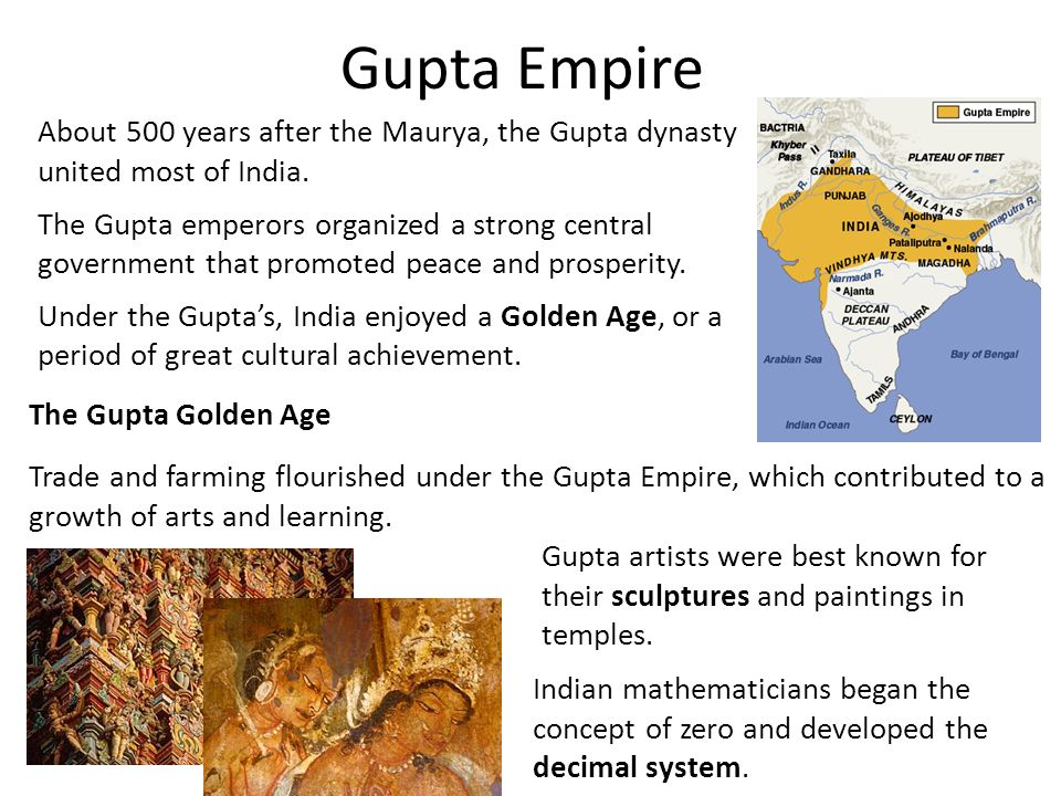 Gupta Empire About 500 years after the Maurya, the Gupta dynasty united most of India.