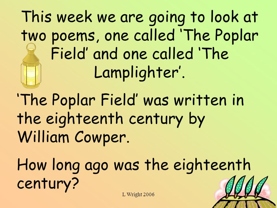 the poplar field by william cowper