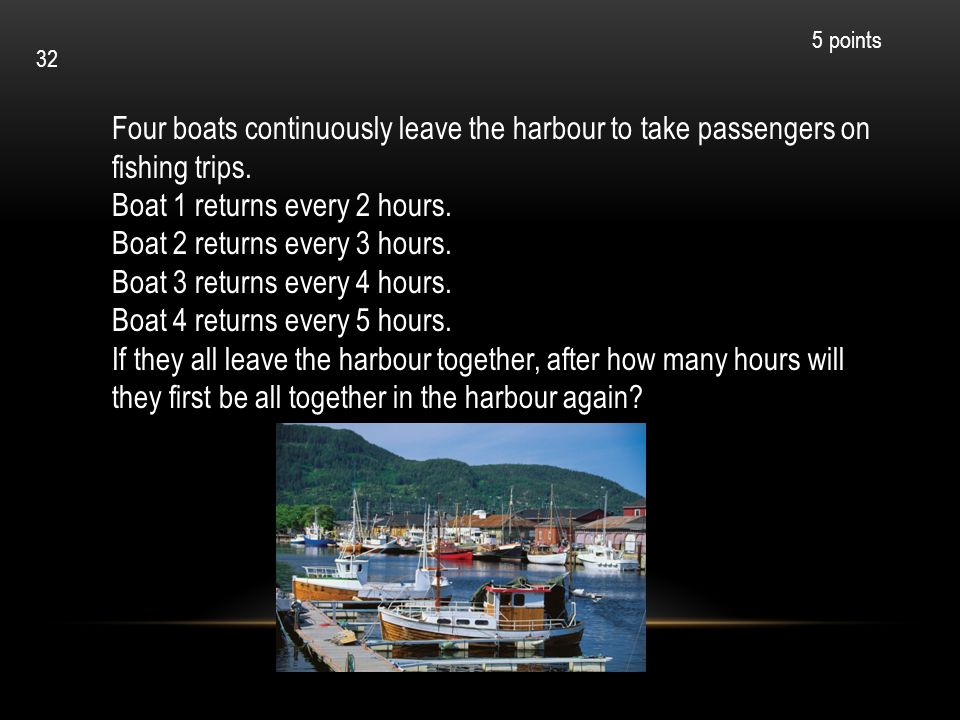 Boat 1 returns every 2 hours. Boat 2 returns every 3 hours.