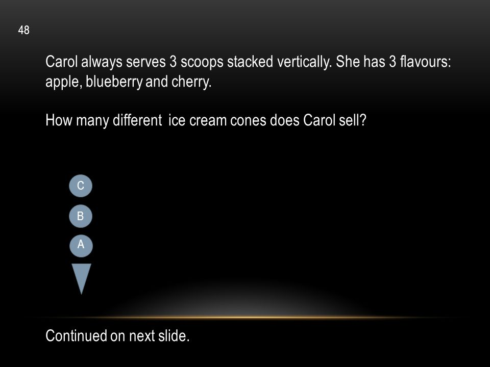 How many different ice cream cones does Carol sell