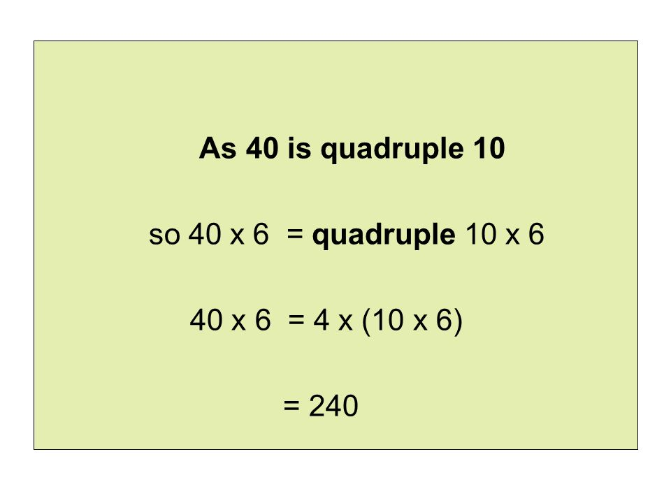 As 40 is quadruple 10 so 40 x 6 = quadruple 10 x 6 40 x 6 = 4 x (10 x 6) = 240