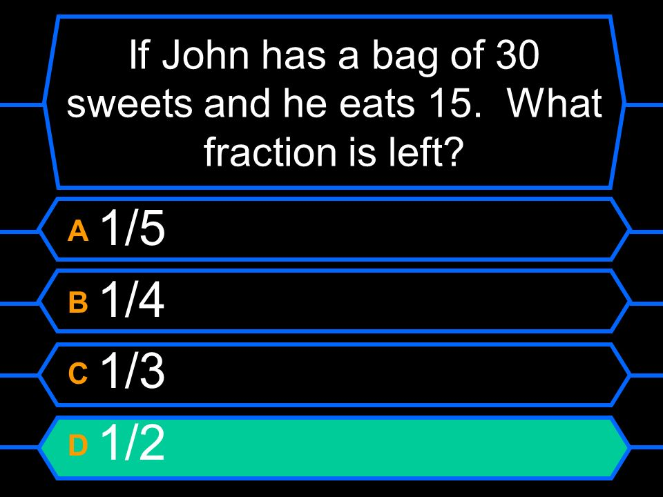 If John has a bag of 30 sweets and he eats 15. What fraction is left