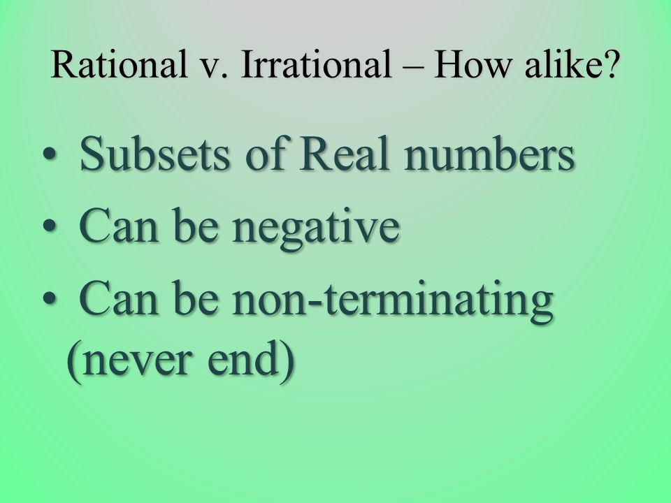 Rational v. Irrational – How alike