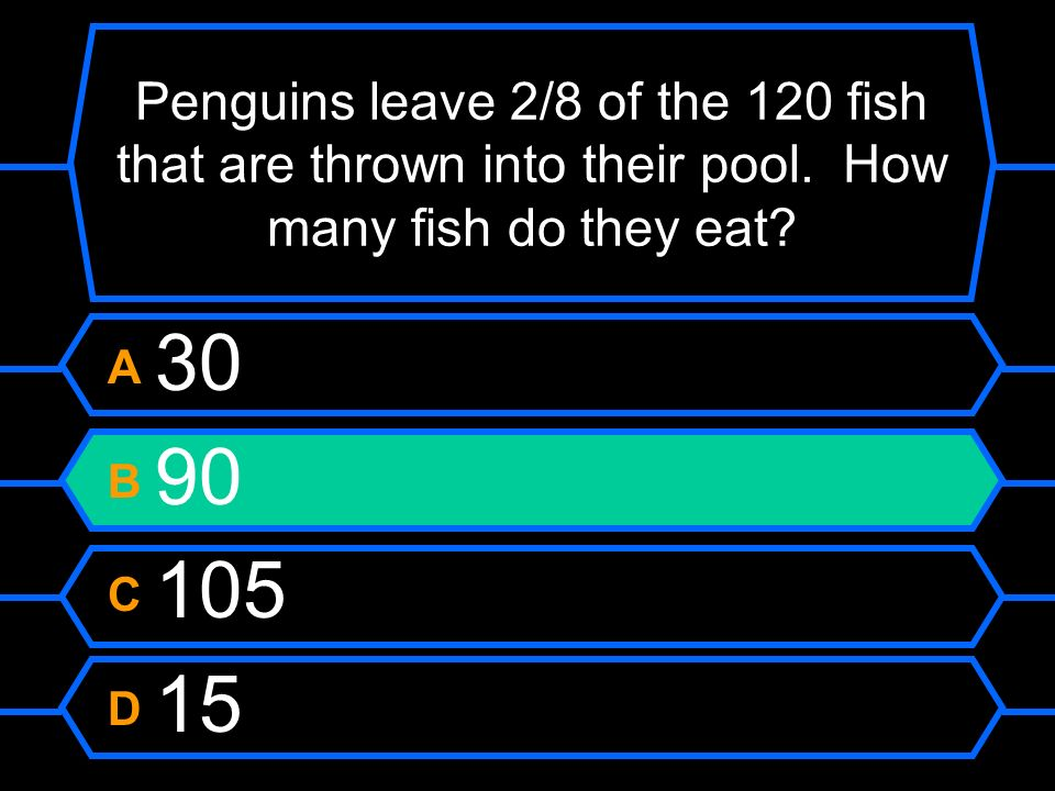 Penguins leave 2/8 of the 120 fish that are thrown into their pool