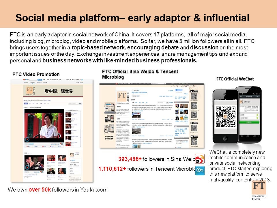 Social media platform– early adaptor & influential