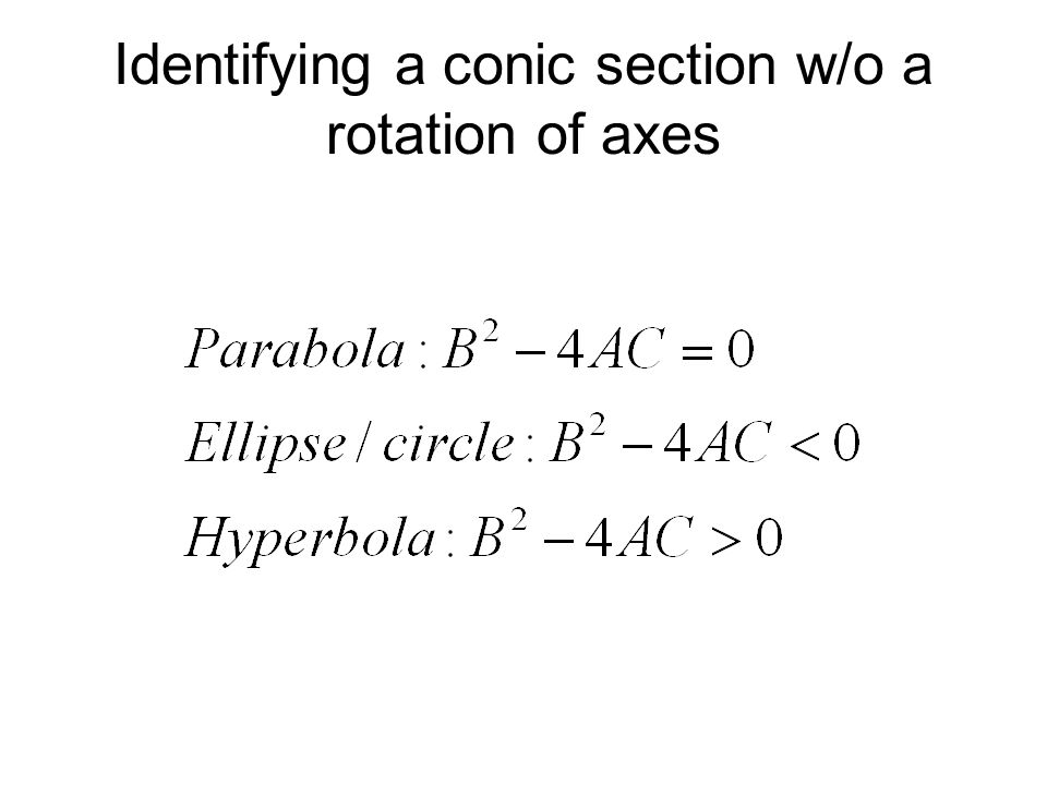 Identifying a conic section w/o a rotation of axes