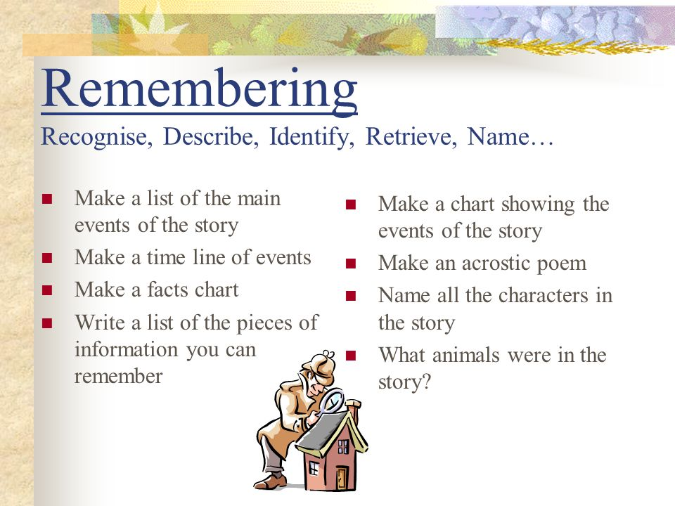 Remembering Recognise, Describe, Identify, Retrieve, Name…