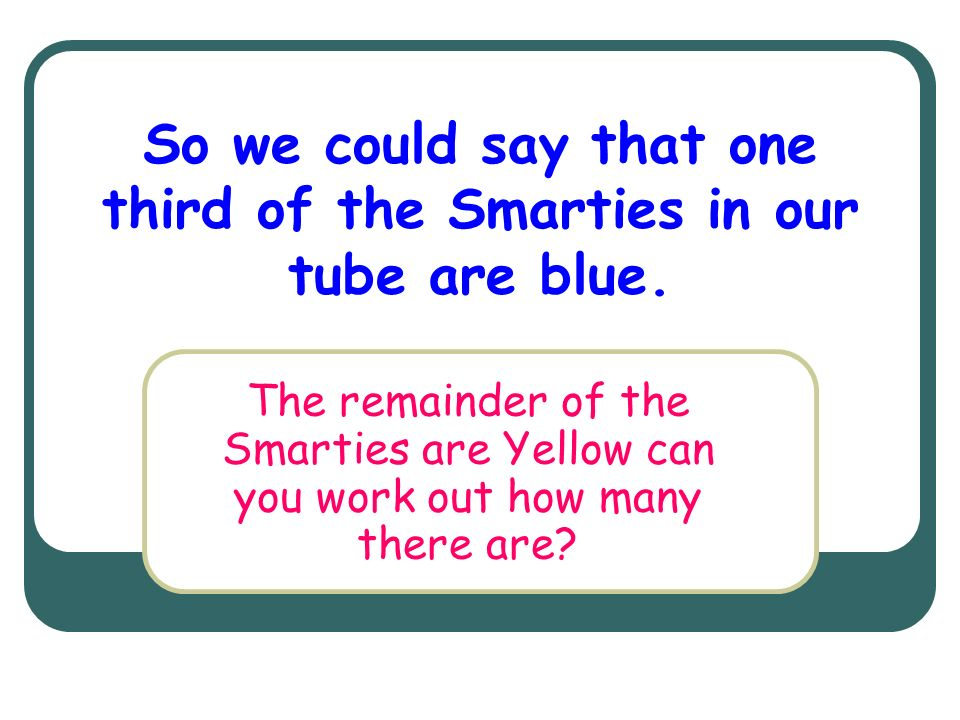 So we could say that one third of the Smarties in our tube are blue.