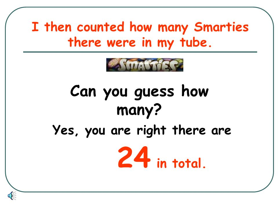 I then counted how many Smarties there were in my tube.