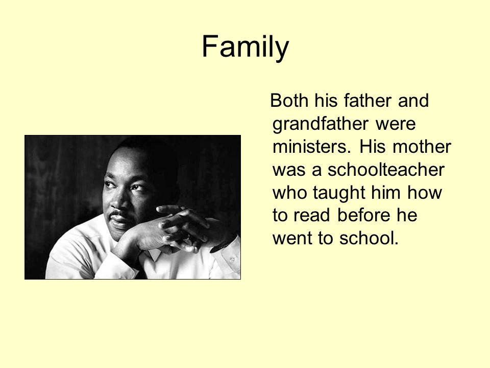 Family Both his father and grandfather were ministers.