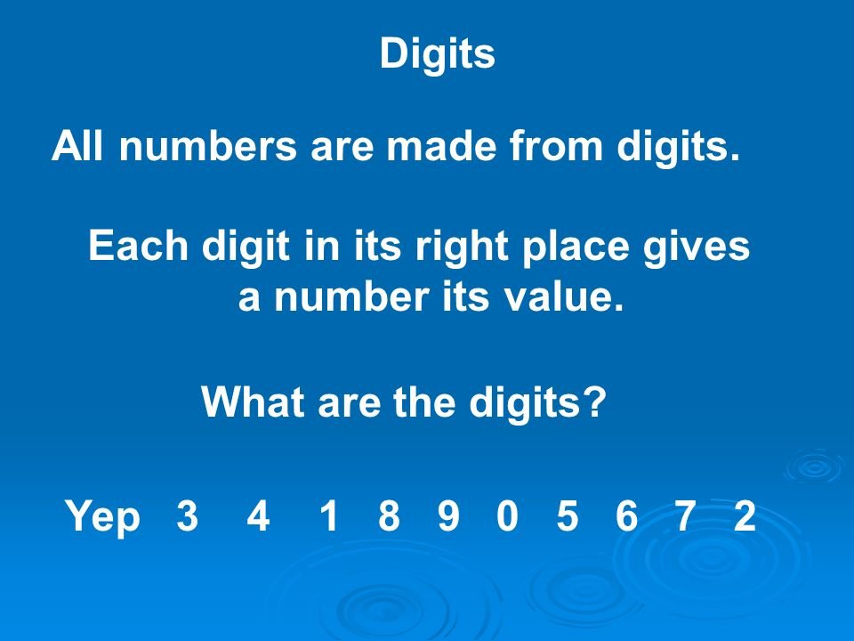 Each digit in its right place gives