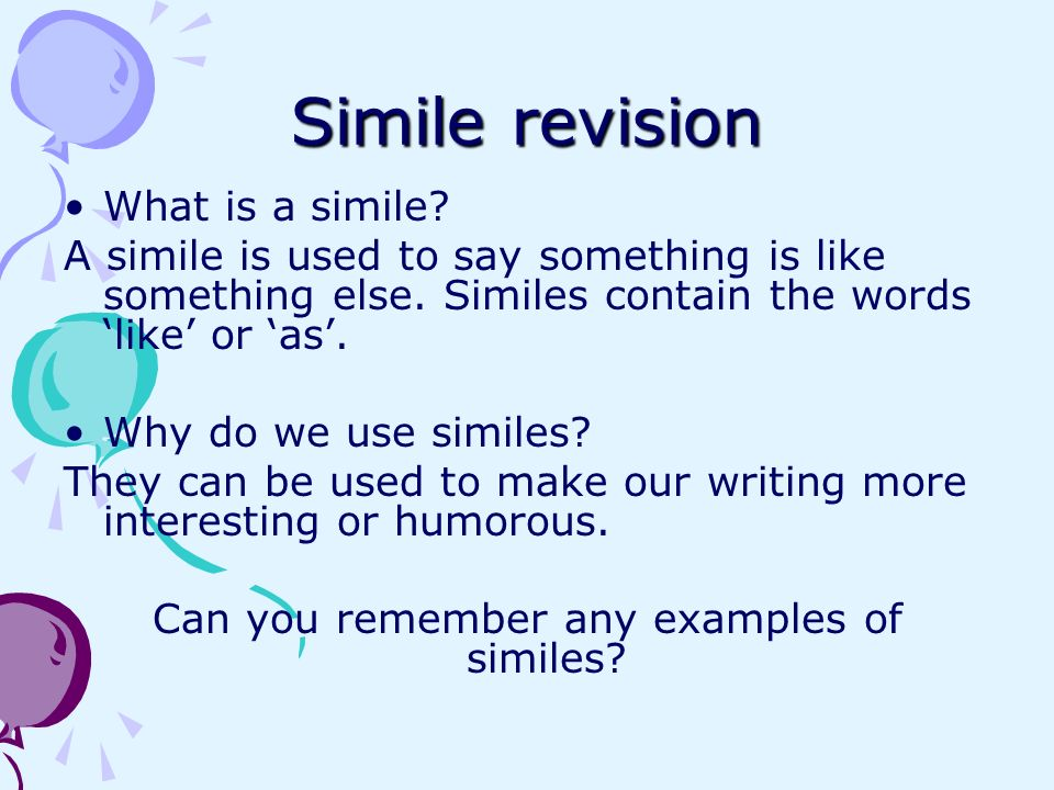 Can you remember any examples of similes
