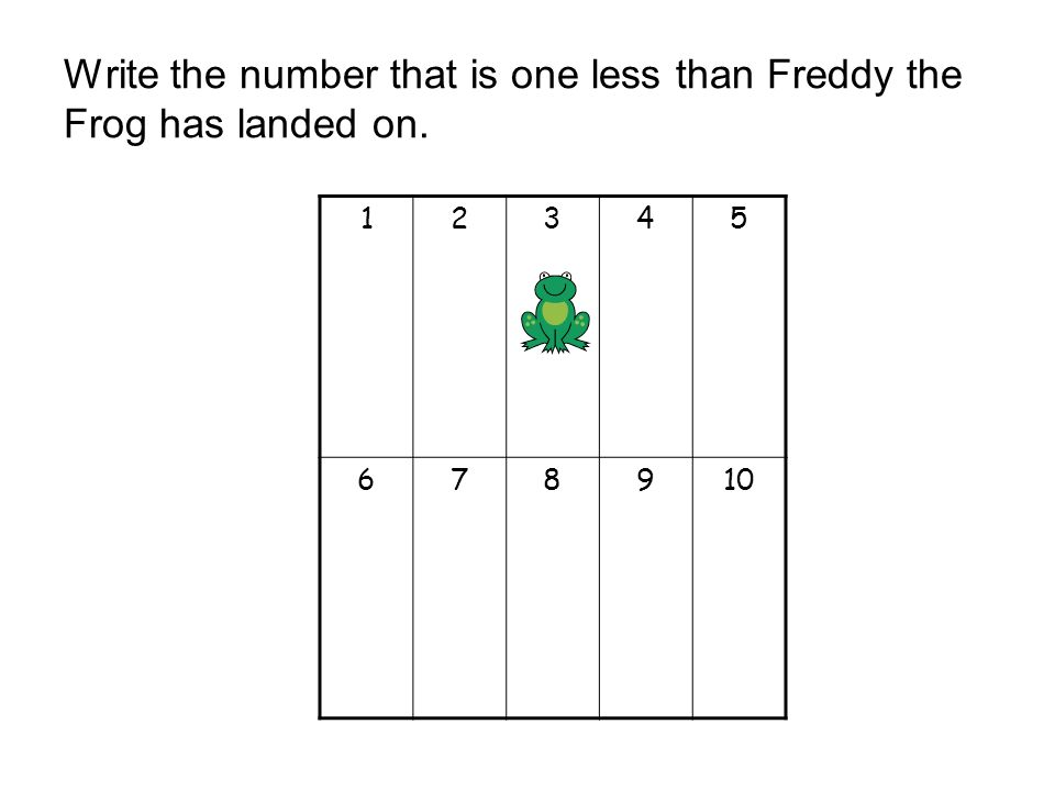 Write the number that is one less than Freddy the Frog has landed on.