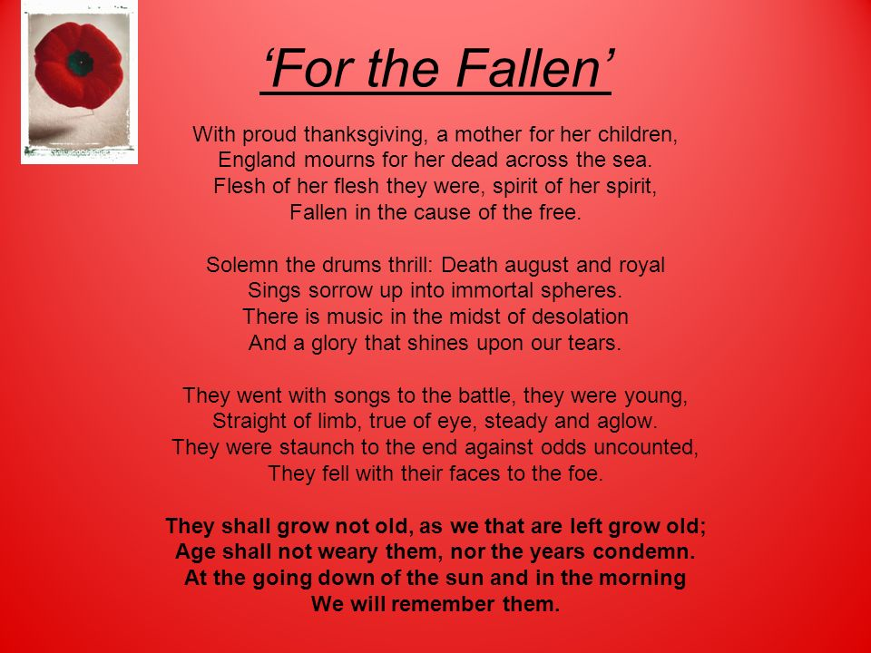 'For the Fallen' With proud thanksgiving, a mother for her children,