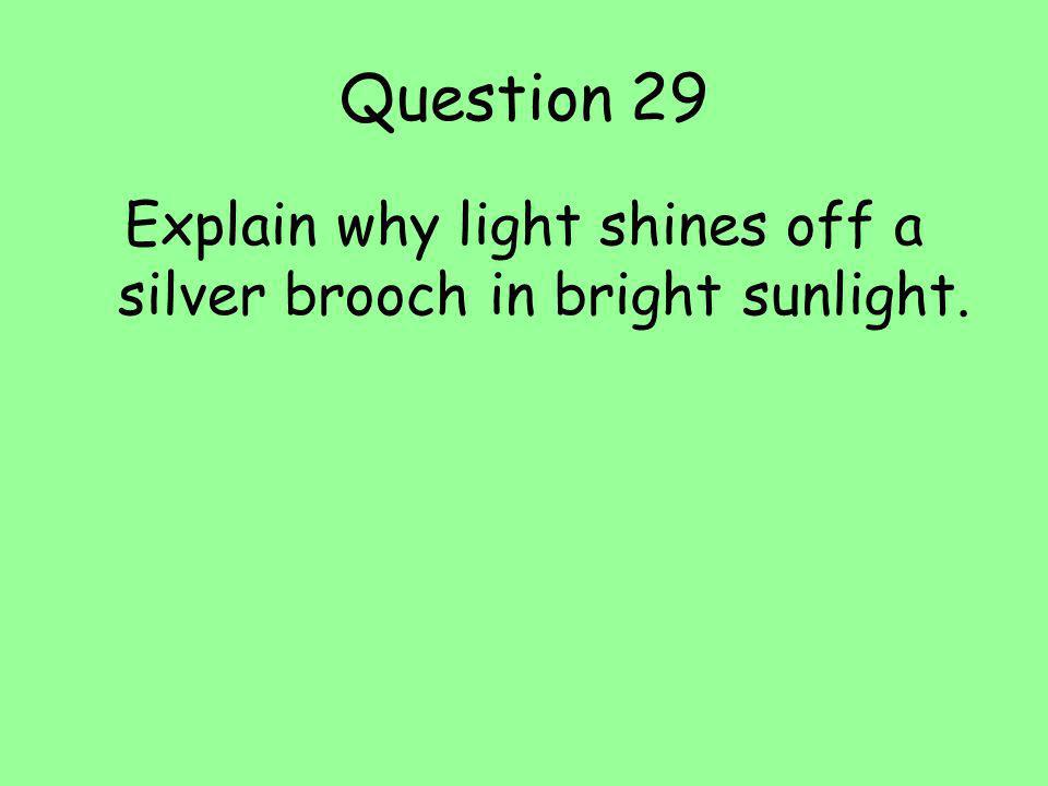 Explain why light shines off a silver brooch in bright sunlight.