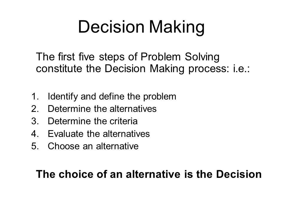 final step in decision making process