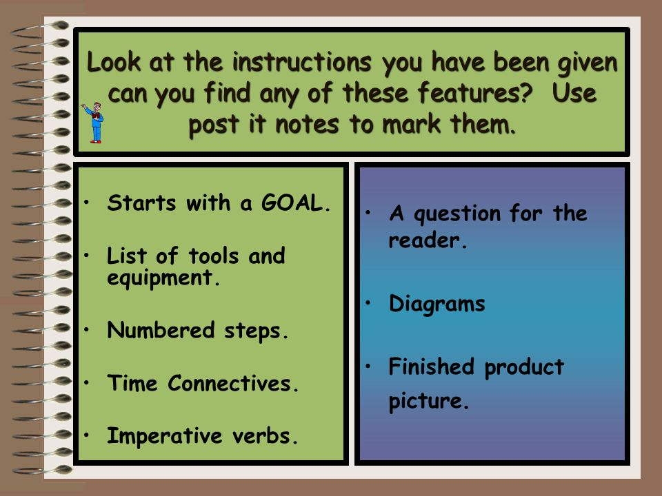 Look at the instructions you have been given can you find any of these features Use post it notes to mark them.