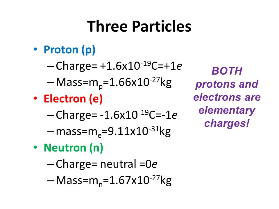 Both Protons And Electrons Are Elementary Charges
