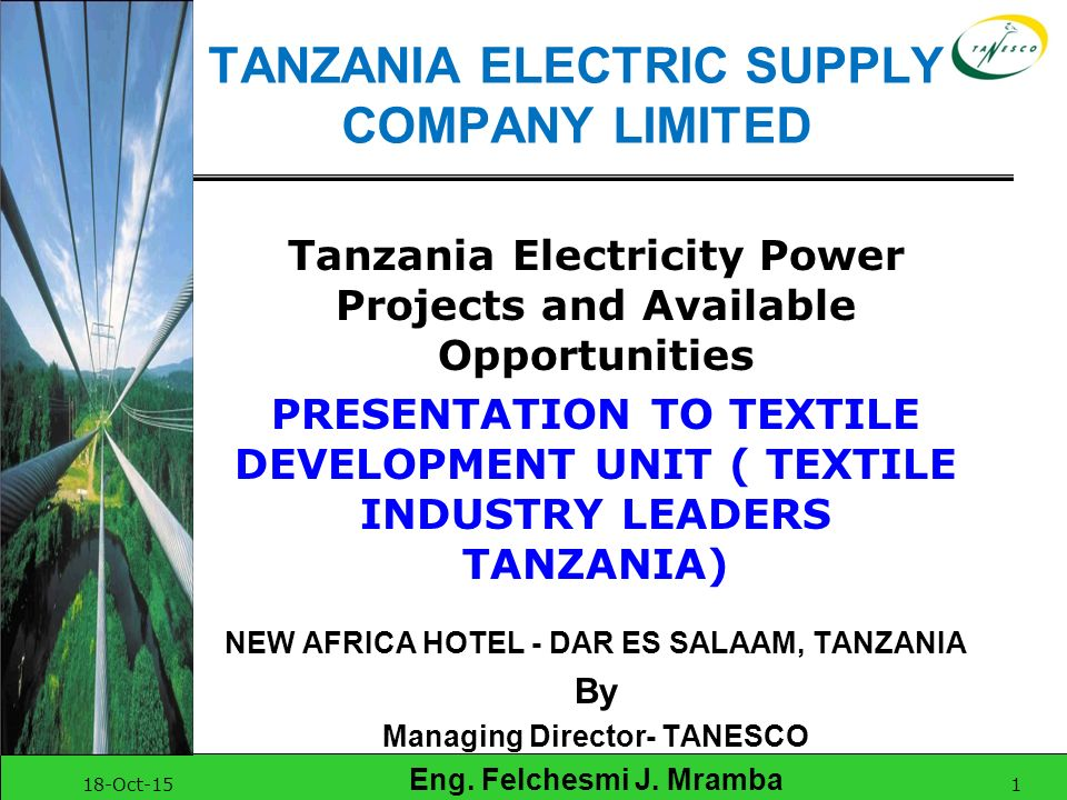 TANZANIA ELECTRIC SUPPLY COMPANY LIMITED - ppt download