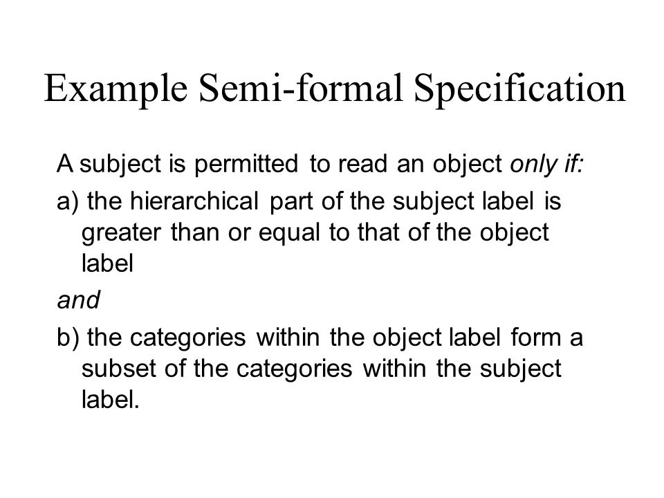 Example Semi-formal Specification