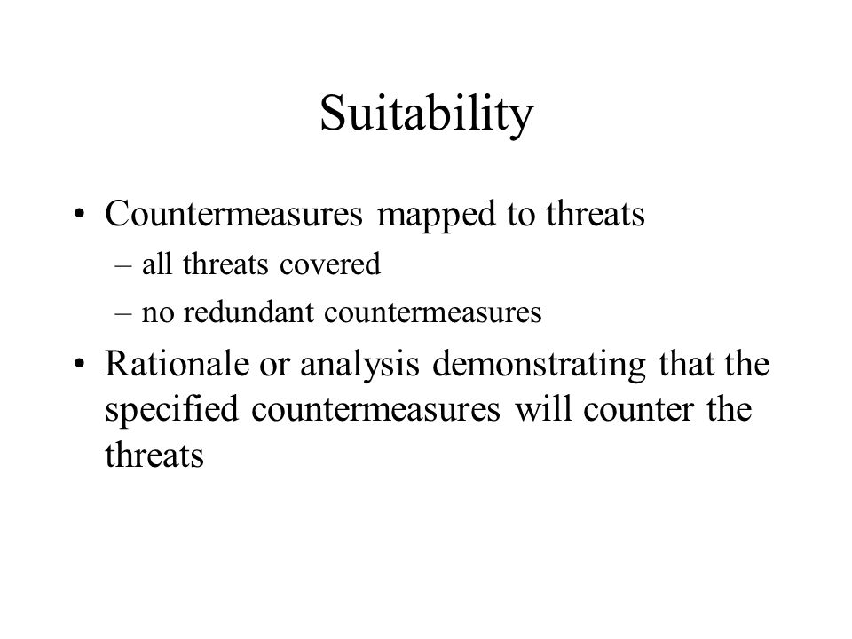 Suitability Countermeasures mapped to threats